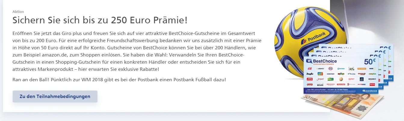 Postbank Giro plus Prämie
